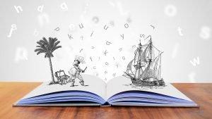 plaatje met opengeslagen boek waaruit verhalen komen